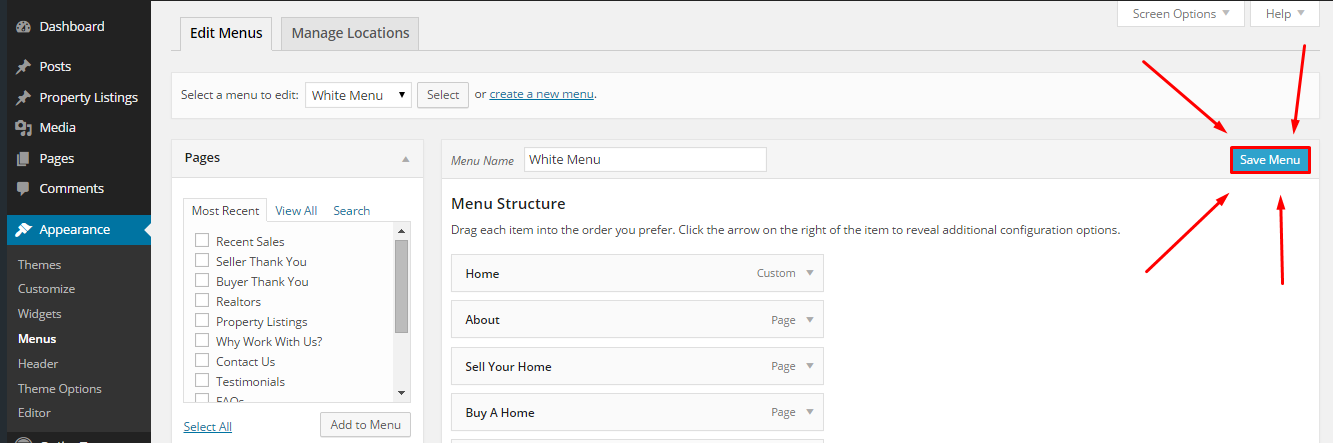 how to create a custom menu in wordpress 4